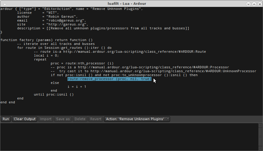 screenshot showing Lua scripting console
